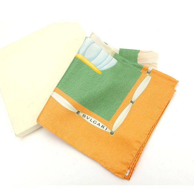 【中古】 ブルガリ BVLGARI スカーフ Topkapi オレンジ系 100%シルク (あす楽対応)中古 Y4458