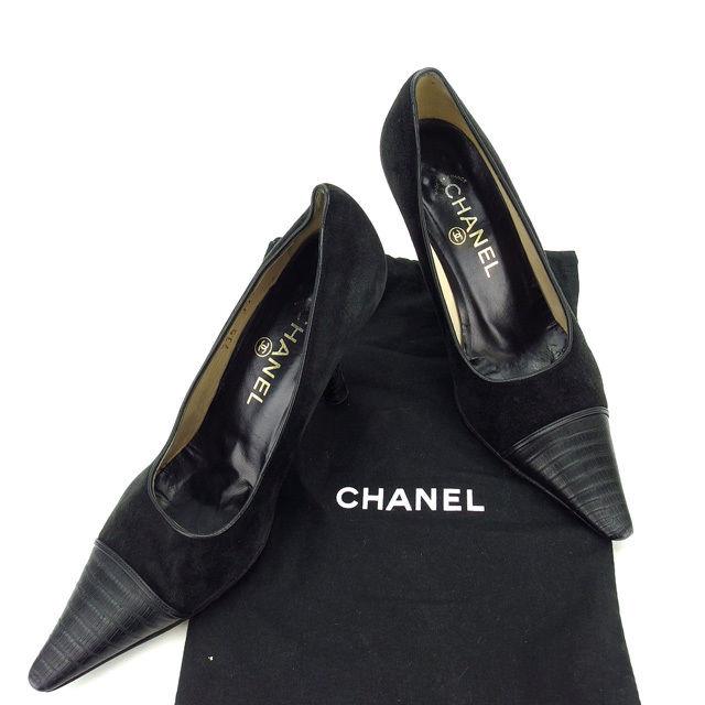 【中古】 シャネル CHANEL パンプス シューズ 靴 レディース ♯35ハーフC ポインテッドトゥ ブラック スエード×レザー (あす楽対応)人気 Y4468 .