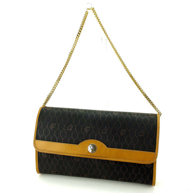 【中古】 クリスチャンディオール Christian Dior ショルダーバッグ チェーンショルダー レディース ロゴ柄 ブラック×ベージュ×ゴールド PVC×レザー (あす楽対応)廃盤レア Y4519