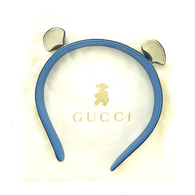 【中古】 グッチ GUCCI カチューシャ ガールズ キッズ GGプラス 耳付き 271575 ベージュ×ブラウン×ブルー PVC×レザー (あす楽対応)中古 Y4539 .