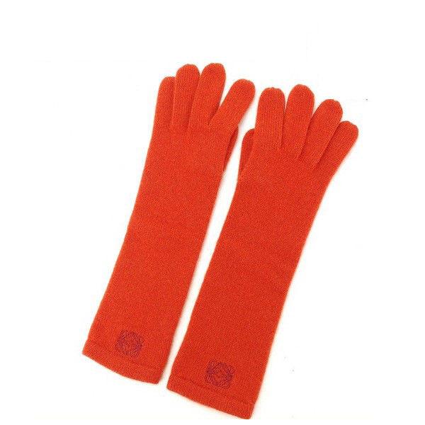 【中古】 ロエベ LOEWE 手袋 グローブ レディース アナグラム オレンジ C/100% (あす楽対応)美品 Y4591 .