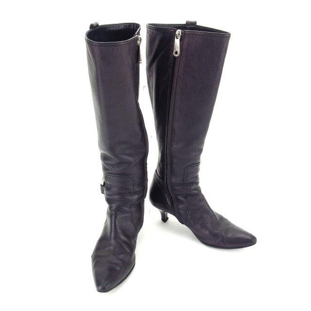 【中古】 バリー BALLY ブーツ シューズ 靴 レディース ♯35ハーフ ロゴリング付き ロング ブラック×シルバー レザー (あす楽対応)人気 Y4765 .