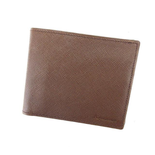【中古】 アクアスキュータム Aquascutum 二つ折り財布 メンズ ロゴ ブラウン レザー (あす楽対応)中古 Y4792
