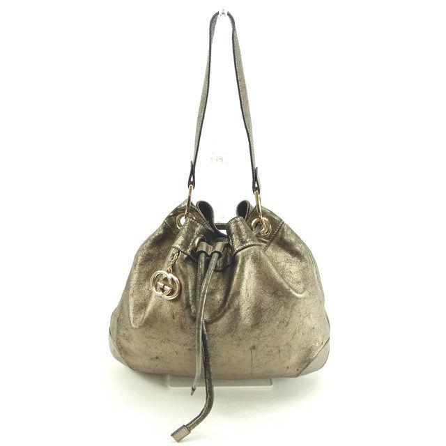 b8b6f9660460ee Gucci GUCCI shoulder bag drawstring purse shoulder Lady's silver leather  (correspondence) popularity sale Y4855
