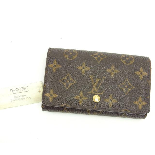【中古】 ルイヴィトン Louis Vuitton L字ファスナー財布 二つ折り メンズ可 ポルトモネビエトレゾール モノグラム M61730 ブラウン モノグラムキャンバス (あす楽対応)人気 Y4868 .