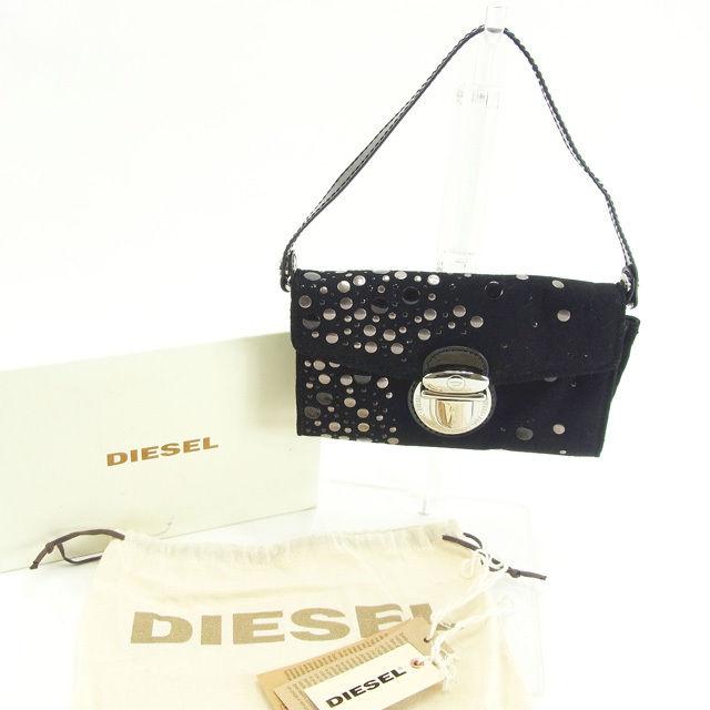【中古】 ディーゼル DIESEL ハンドバッグ クラッチバッグ レディース ブラック スエード (あす楽対応)美品 Y4915