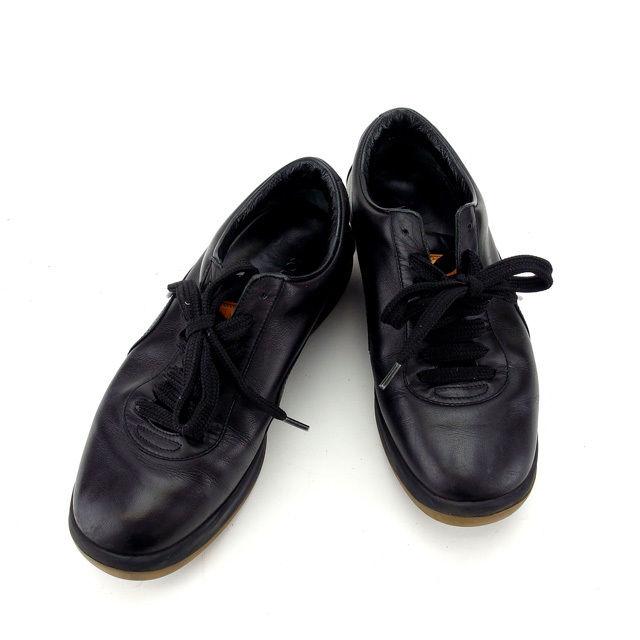 【中古】 ルイヴィトン Louis Vuitton スニーカー シューズ 靴 レディース ♯35ハーフ ロゴ ブラック×ベージュ レザー×ラバー (あす楽対応)人気 Y4947 .