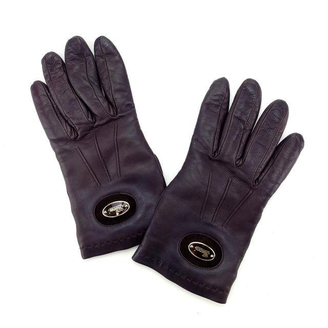 【中古】 グッチ GUCCI 手袋 グローブ レディース ダークブラウン×ゴールド T14495