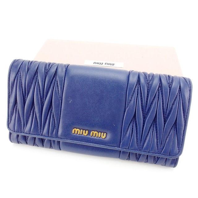 【中古】 ミュウミュウ miumiu 長財布 ファスナー付き長財布 レディース マテラッセ 5M1109 ブルー×ゴールド レザー (あす楽対応)良品 Y4976 .