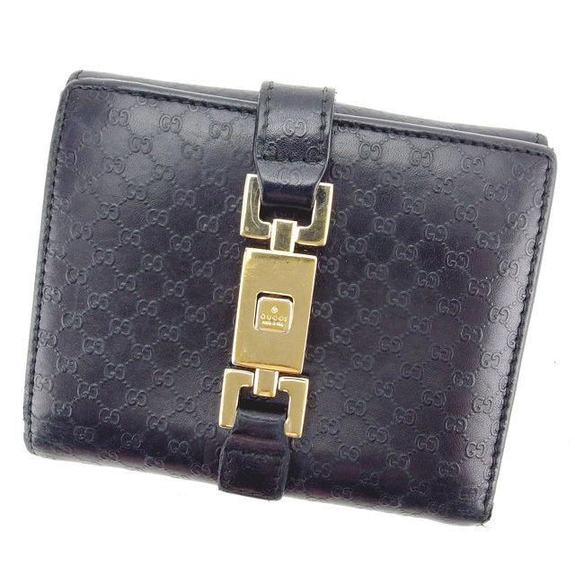 【中古】 グッチ GUCCI Wホック財布 二つ折り財布 男女兼用 ジャッキー金具 マイクロGG ブラック×ゴールド レザー (あす楽対応)人気 Y5010