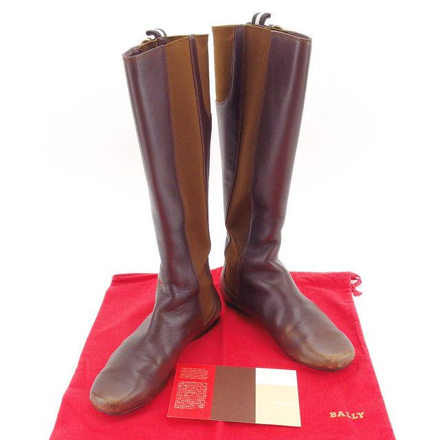 【中古】 バリー BALLY ブーツ シューズ 靴 レディース ♯36E ロング ブラウン×ゴールド系 T13838 .