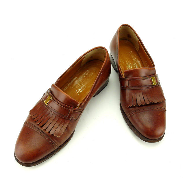 【中古】 サルヴァトーレフェラガモ Salvatore Ferragamo ローファー シューズ 靴 メンズ ♯7 3E ヴァラ金具 ブラウン×ゴールド レザー (あす楽対応)人気 Y5052 .