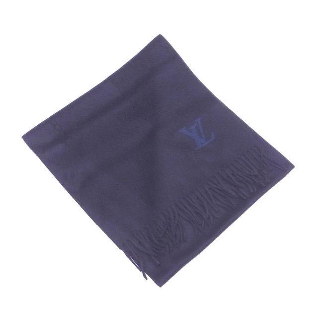 【中古】 ルイヴィトン Louis Vuitton マフラー フリンジ付き LVロゴ ネイビー×ブルー カシミア/100% T12733