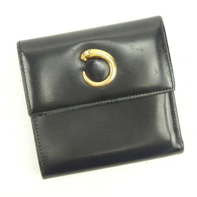 c9bda0d77595 【中古】 カルティエ Cartier 三つ折り財布 パンテール ブラック×ゴールド レザー 人気 Y5106