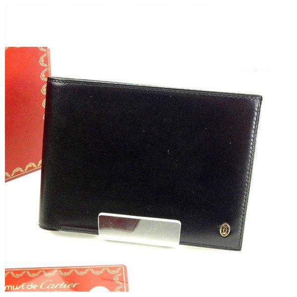 【中古】 カルティエ Cartier 二つ折り札入れ レディース ブラック T14866 .