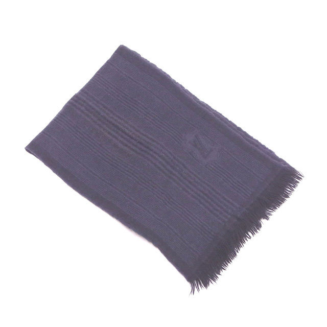 【中古】 ルイヴィトン Louis Vuitton マフラー フリンジ付き 0 グレー×ブラック ウール 60%カシミア 40% T12653
