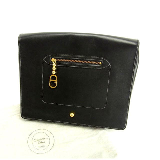 【中古】 クリスチャン ディオール Christian Dior ドキュメントケース クラッチバッグ レディース ブラック×ゴールド 人気 Y5169 .