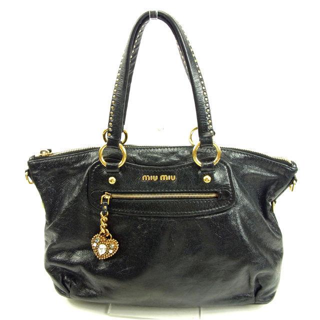 02de3a7cdd0c ミュウミュウ miu miu handbag one shoulder Lady s heart charm black X gold leather  popularity sale Y5187.