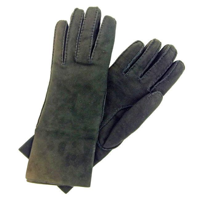 【中古】 エルメス HERMES 手袋 レディース ブラック レザー 美品 Y5204 .