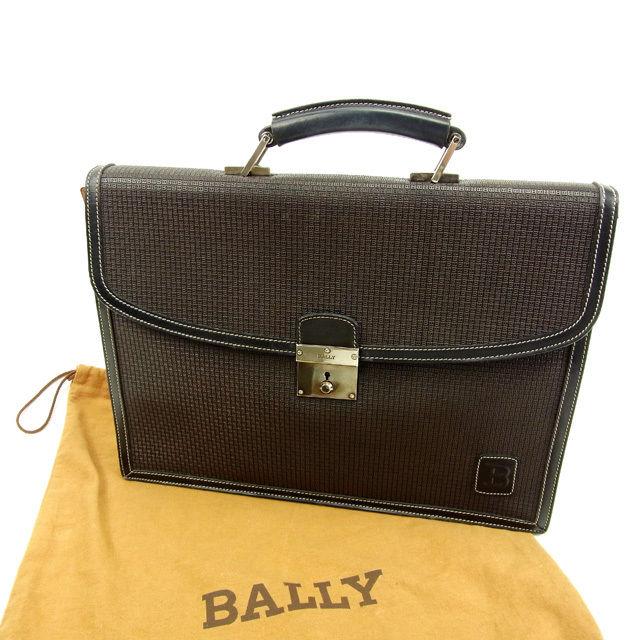 【中古】 バリー Bally ビジネスバッグ ハンドバッグ メンズ B ブラウン PVC×レザー 人気 Y5222