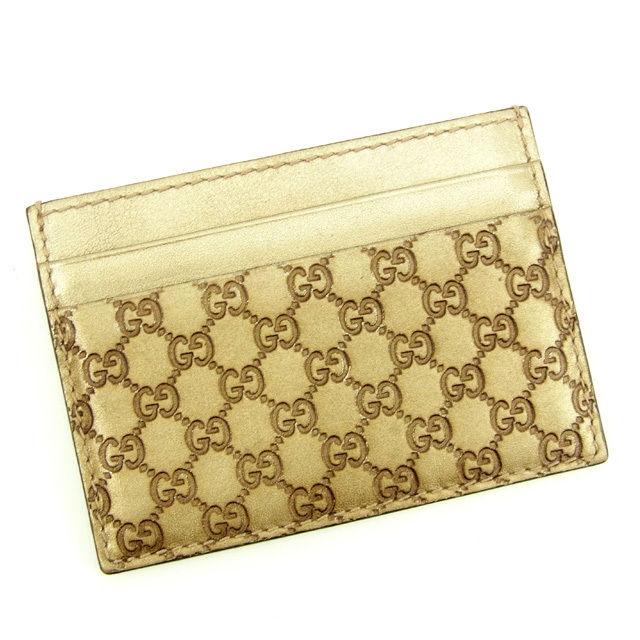 【中古】 グッチ Gucci 名刺入れ カードケース レディース グッチシマ ゴールド レザー 人気 Y5240