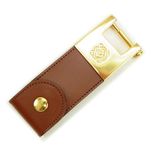 【中古】 ロエベ LOEWE キーホルダー ブラウン×ゴールド レザー×ゴールド素材 美品 Y5242 .