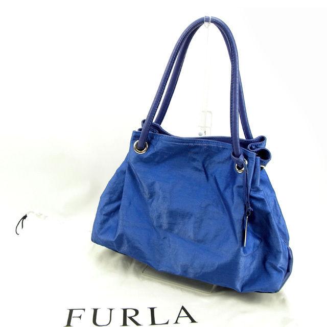 【中古】 フルラ FURLA トートバッグ ワンショルダー レディース ブルー PVC×レザー 人気 Y5285 .