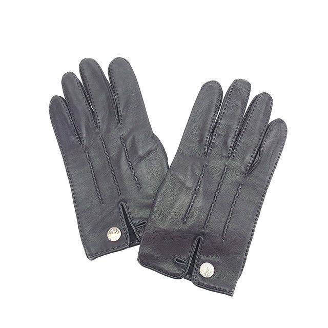 【中古】 エルメス HERMES 手袋 グローブ セリエボタン ブラック×シルバー レザー 美品 Y5315 .