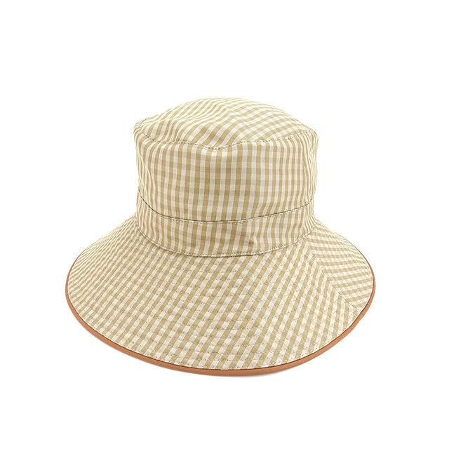 【中古】 エルメス HERMES 帽子 ハット レディース チェック ベージュ×ブラウン 絹/100%(パイピング)絹/100% 人気 Y5326