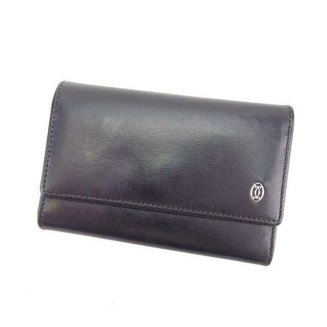 【中古】 カルティエ Cartier キーケース 6連キーケース メンズ パシャ ブラック×シルバー レザー 人気 Y5350 .