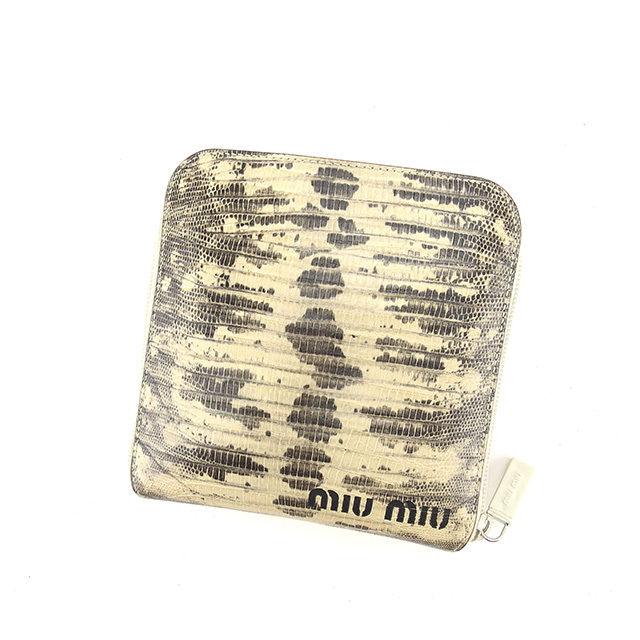 【中古】 ミュウミュウ miumiu エコバッグ ショルダーバッグ クロコダイル調 ベージュ×ブラウン×ブラック系 ナイロンキャンバス×レザー 人気 Y5365 .