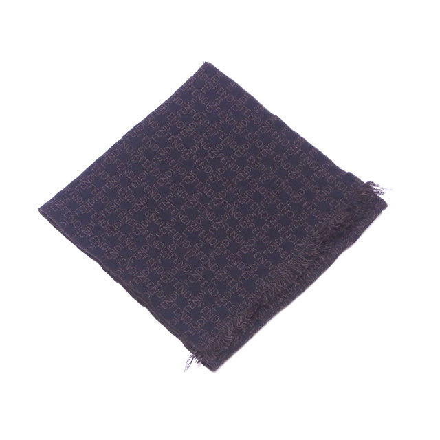 【中古】 フェンディ FENDI マフラー フリンジ付き 0 ブラック×ブラウン ウール 100% T11874