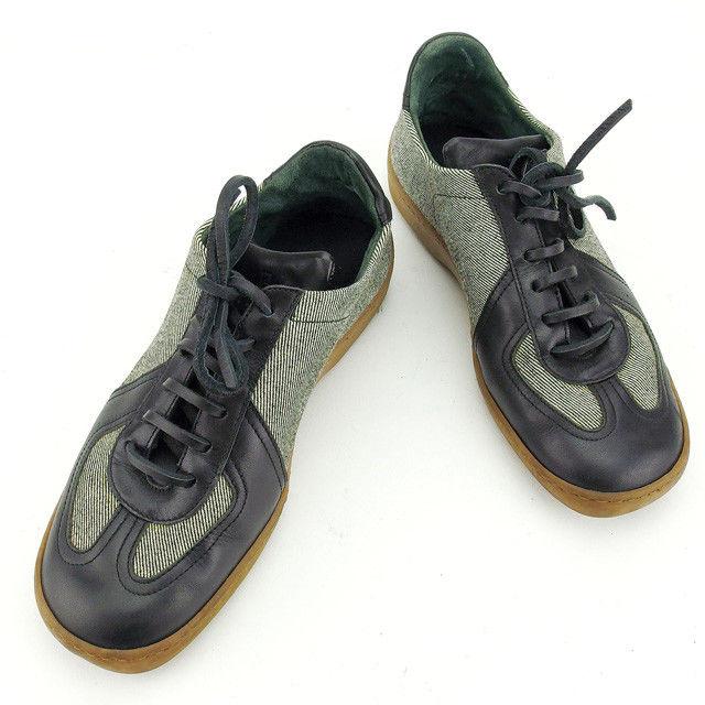【中古】 フェンディ FENDI スニーカー シューズ 靴 レディース ブラック×ベージュ系 キャンバス×レザー T16039 .