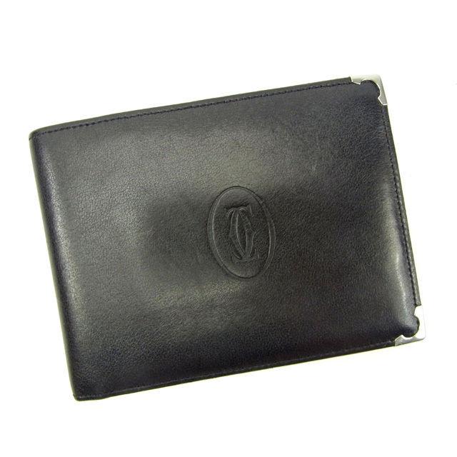 【中古】 カルティエ Cartier 二つ折り財布 メンズ可 マストライン ブラック×ボルドー レザー 良品 Y5549 .