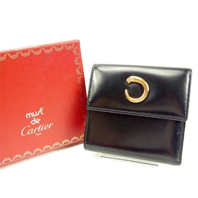 【中古】 人気 セール カルティエ 三つ折り財布 パンテール メンズ可【中古】 T14723