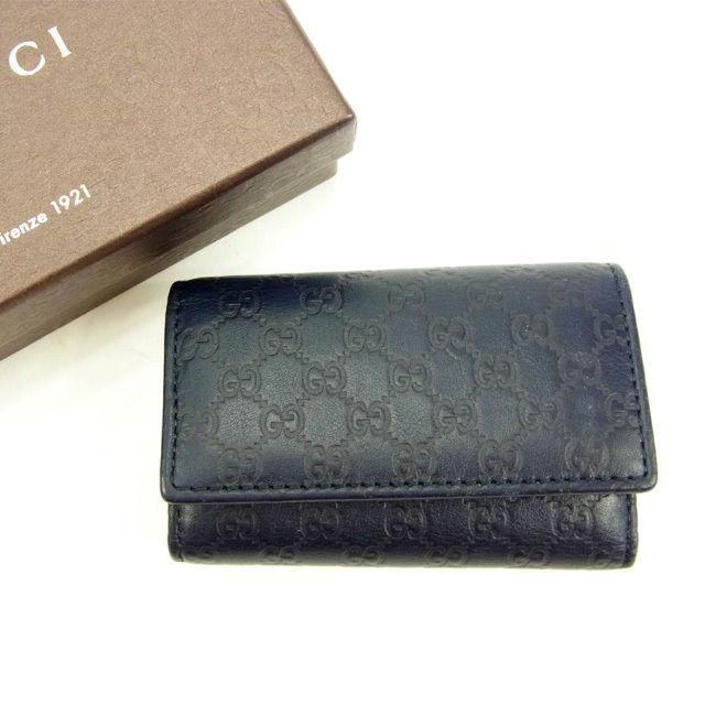 グッチ Gucci キーケース 6連キーケース メンズ可 マイクロGG ネイビー レザー 良品 セール 【中古】 Y5556 .