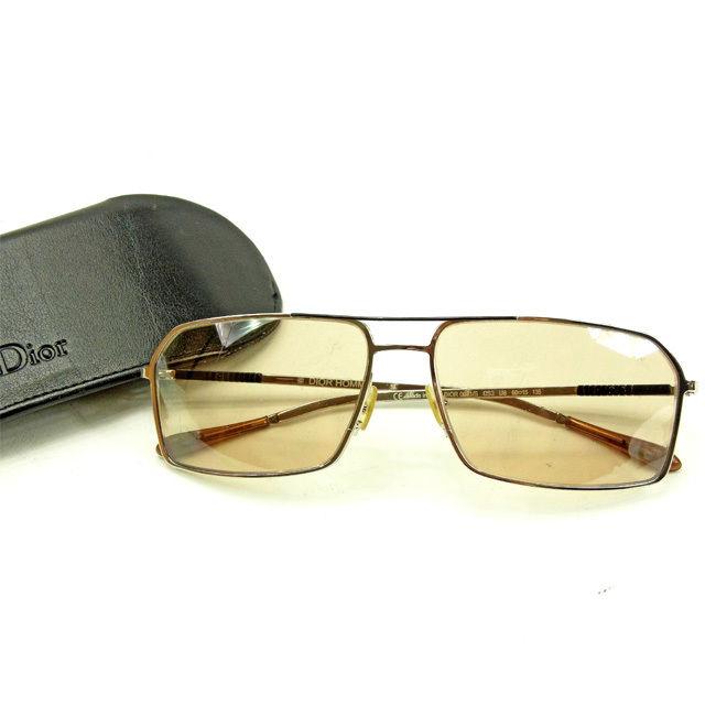 【中古】 ディオール オム Dior Homme サングラス メンズ可 ブラウン×シルバー 良品 Y5564 .