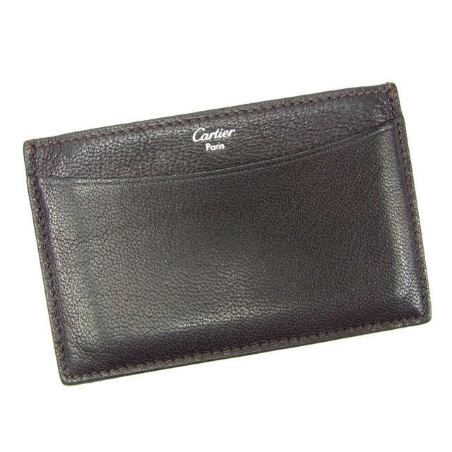 【中古】 カルティエ Cartier カードケース メンズ可 ブラック レザー 人気 Y5611 .