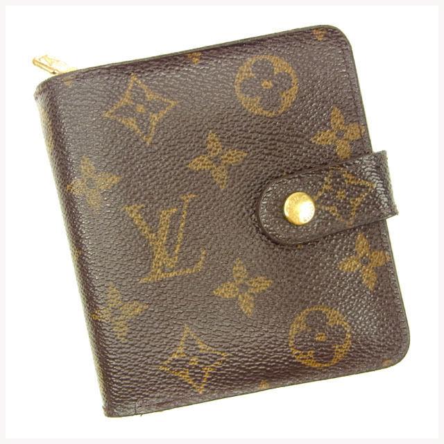 【中古】 ルイヴィトン LOUIS VUITTON 二つ折り財布 メンズ可 /コンパクトジップ モノグラム PVC×レザ- 人気 Y5659 .