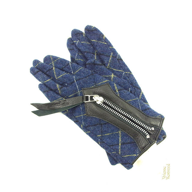 【中古】 ヴィヴィアン ウエストウッド Vivienne Westwood 手袋 レディース チェック ネイビー×ブラック×イエロー ウール×レザー 未使用 Y5735 .