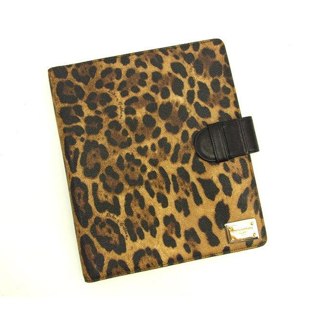 【中古】 ドルチェ&ガッバーナ DOLCE & GABBANA iPadケース メンズ可 レオパード ブラック×ブラウン PVC×レザー 人気 Y5738 .
