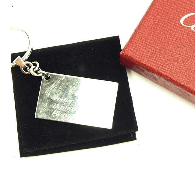 【中古】 カルティエ Cartier キーホルダー メンズ可 レターモチーフプレート シルバー 人気 Y5744 .