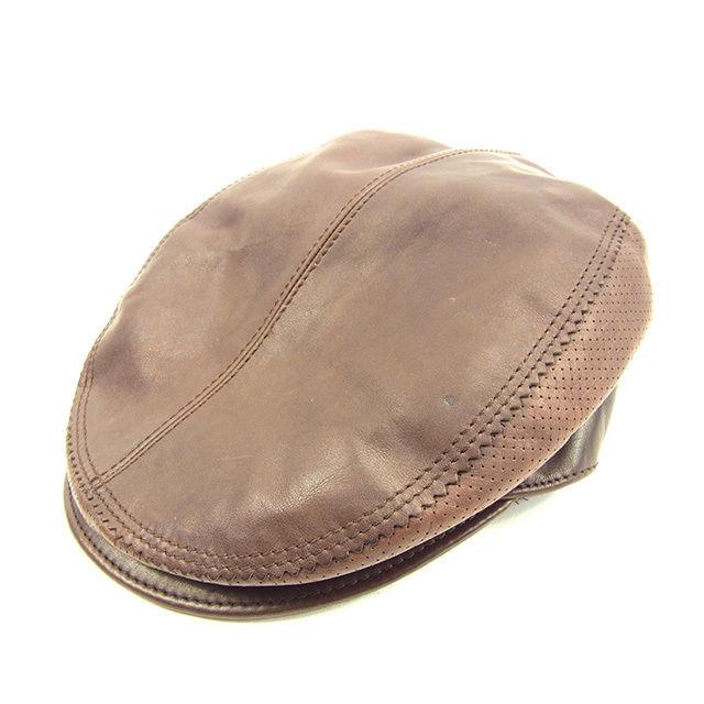 【中古】 グッチ Gucci ハンチンング 帽子 メンズ可 ブラウン レザー 良品 Y5745 .