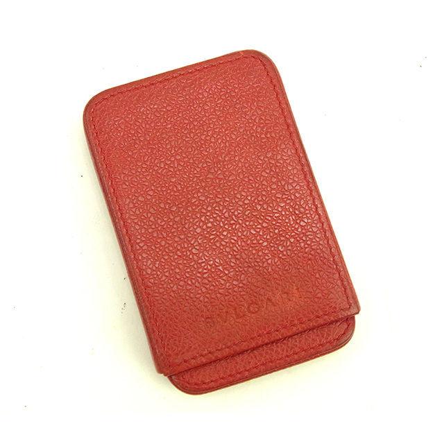 【中古】 ブルガリ BVLGARI カードケース レディース その他 レッド レザー 人気 Y5759 .