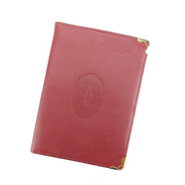 【中古】 カルティエ Cartier パスポートケース 長札入れ マストライン ボルドー×ゴールド レザー 美品 Y5889 .