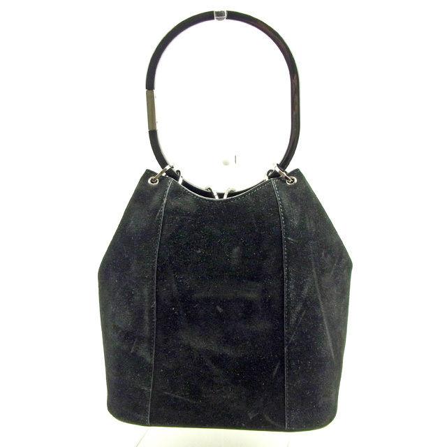 【中古】 グッチ GUCCI ハンドバッグ 巾着型 レディース リングハンドル ブラック×シルバー スエード 人気 Y6004 .