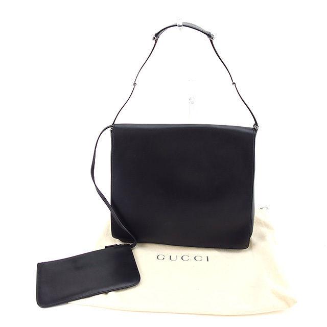 【中古】 グッチ Gucci ショルダーバッグ ワンショルダー レディース ブラック レザー 人気 Y6065 .