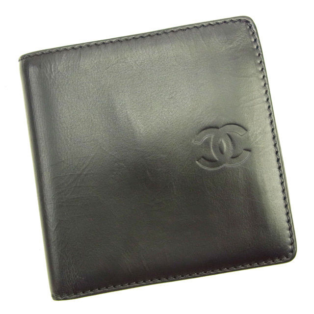 【中古】 シャネル CHANEL 二つ折り財布 レディース メンズ 可 ココマーク ブラック レザー レア Y6182 .