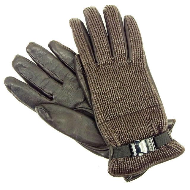 【中古】 モンクレール MONCLER 手袋 #L レディース ブラウン ナイロン×レザー 人気 Y6200 .
