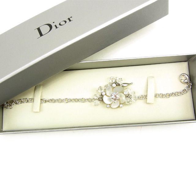 【中古】 ディオール Christian Dior ブレスレット アクセサリー レディース 花×ラインストーン シルバー シルバー 良品 Y6209 .